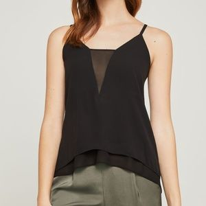 BCBG Asymmetrical Tank with Sheer Cut-out, S